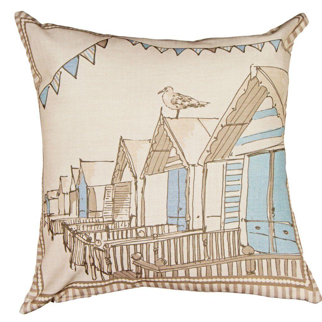Falmouth Seaside Filled Cushion, Cream & Blue