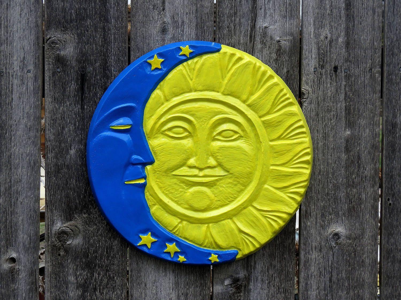 Sun moon concrete wall hanging plaque stepping stone yard art