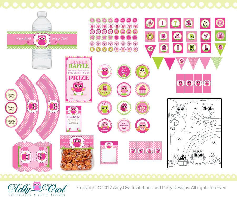 Pink Owl Baby Girl Shower Printable Party Kit with girl baby owls