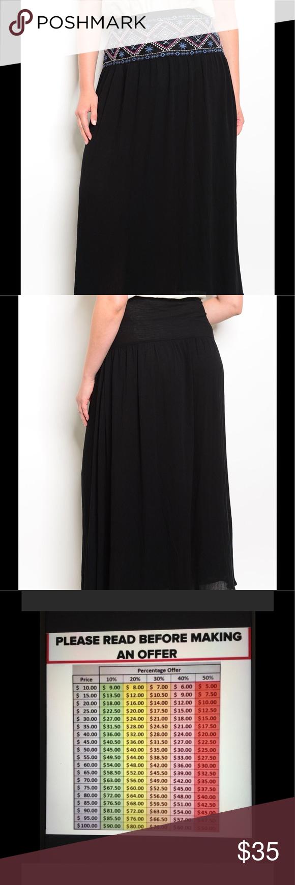 150a2ead4ce7c + 🎉HP🎉 Boho Embroidery Skirt Plus Size Beautiful Plus Size High Waist