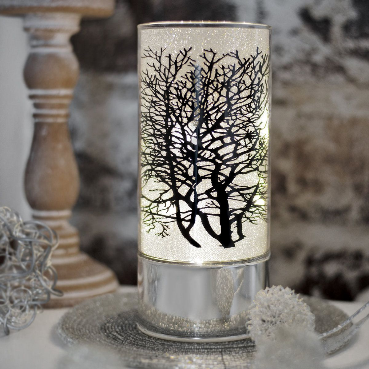 Led Lampe Glas Rohre Auf Sockel Baummotiv Stimmungslicht Leuchte Led Lampe Led Glas Led