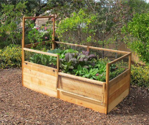 3x6 Rabbit Proof Raised Garden Bed With Trellis 350 00 20 High Cedar Growing B Vegetable Garden Raised Beds Vegetable Garden Beds Building A Raised Garden