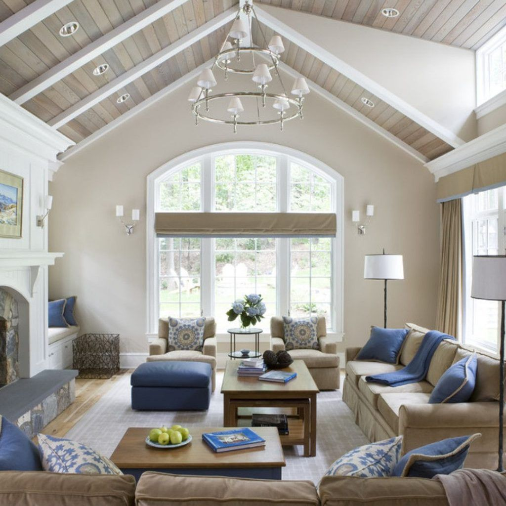 Interior Design Living Room Vaulted Ceiling in 2020 ...