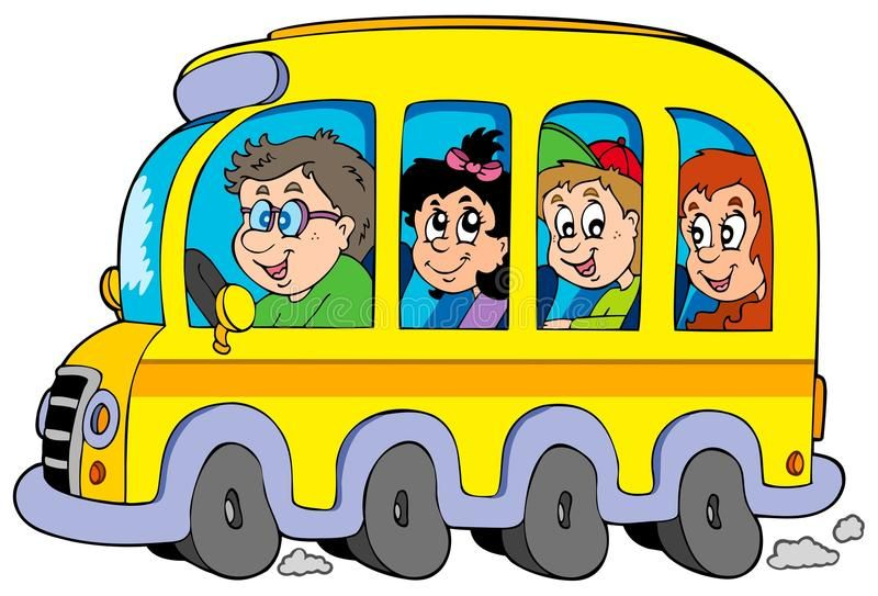 Cartoon School Bus With Kids Illustration Affiliate School