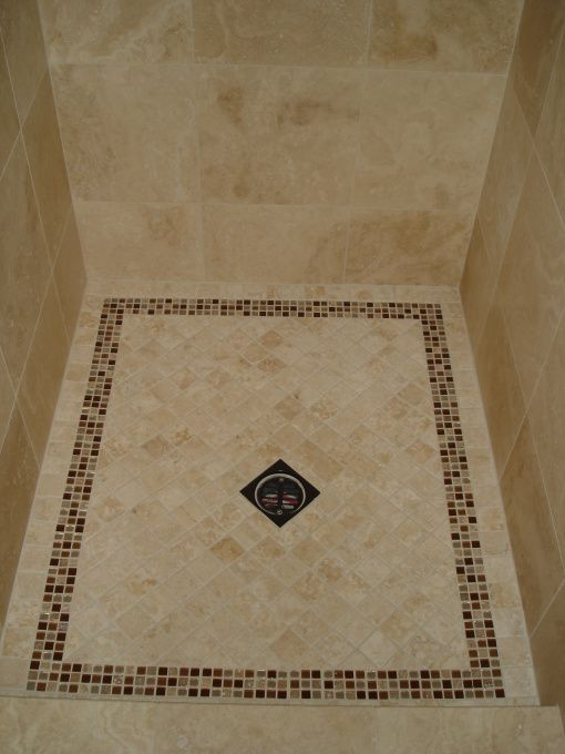 2x2 Tiles For Shower Floor And A Trim Of Mosaic Tiles Master Bath Shower Floor Bathrooms Remodel