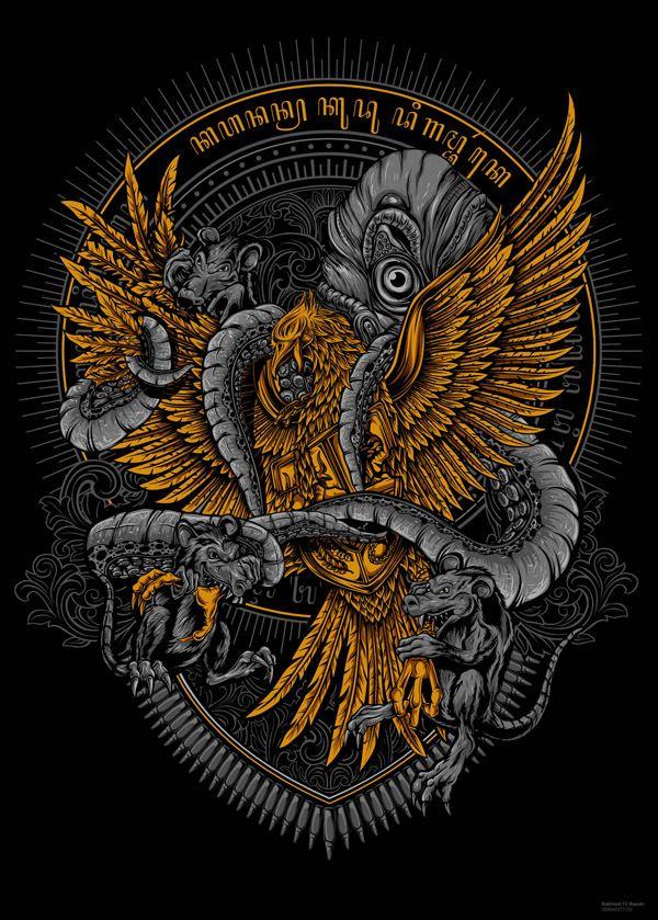 Garuda Vector Art : garuda, vector, Saocnebo, Silamaze, Tattoo, Indonesian, Surealism, Illustration, Artwork