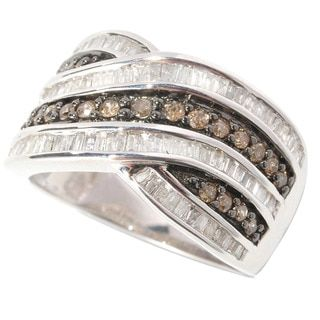 Shop for Sterling Silver 1ct TDW Round-cut Champagne and Baguette-cut White Diamond Ring (H-I, I2-I3). Get free delivery at Overstock.com - Your Online Jewelry Destination! Get 5% in rewards with Club O!