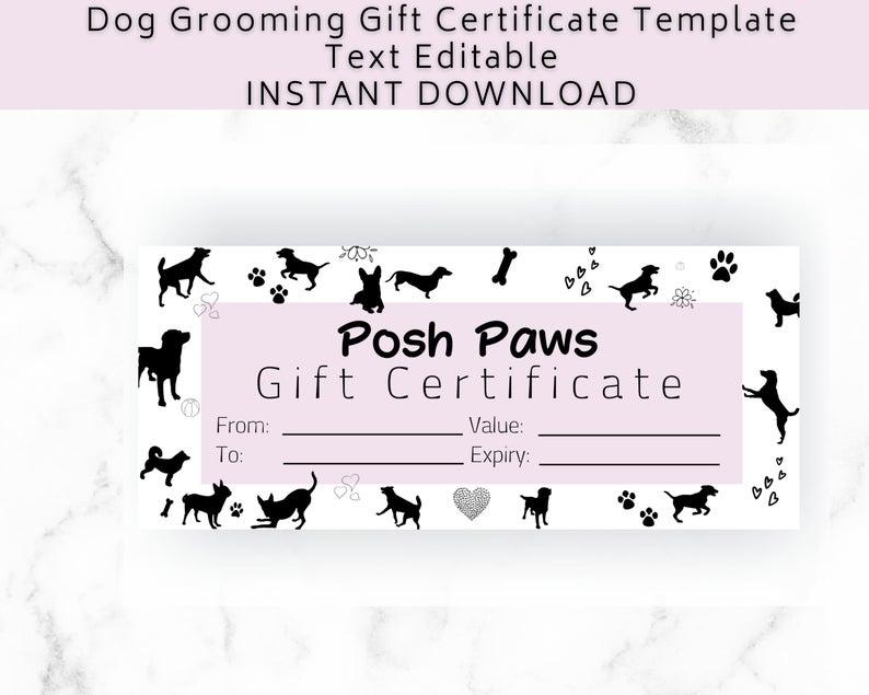 Gift Certificate Template Dog Grooming Diy Gift Voucher For Etsy Gift Certificate Template Printable Gift Certificate Gift Certificates