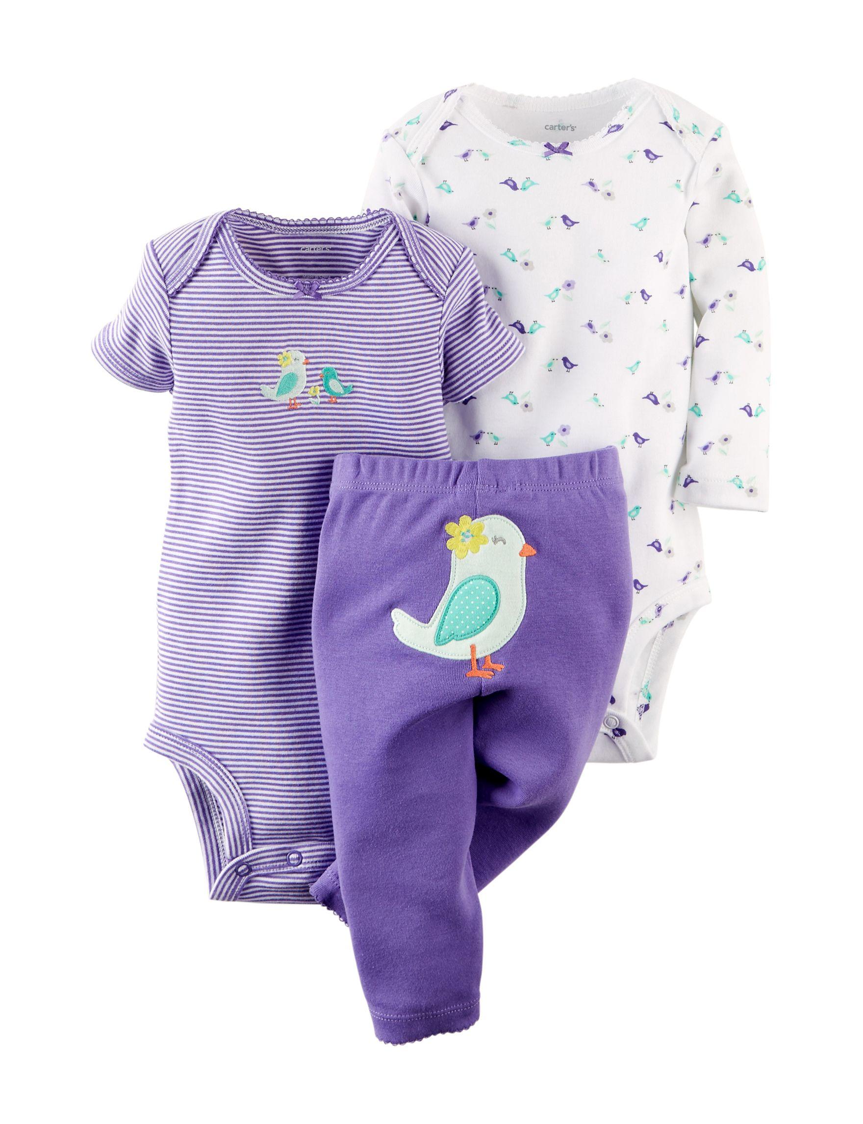 Shop today for Carter s 3 pc Purple & Teal Bird Print Bodysuit Set