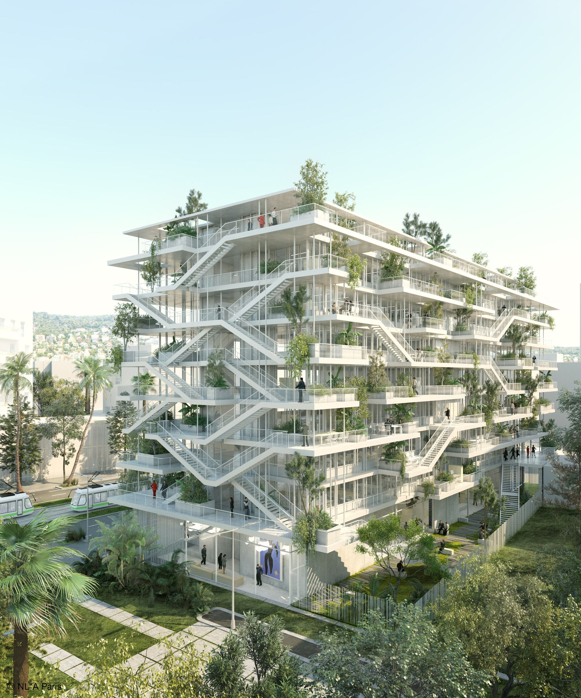 uc concept architectural design ltd. Nicolas Laisn  Associ s NL A Paris has revealed plans for its new Offices With Terraces an office building in Nice France Gallery of Reveals Plans Open Concept Green Office
