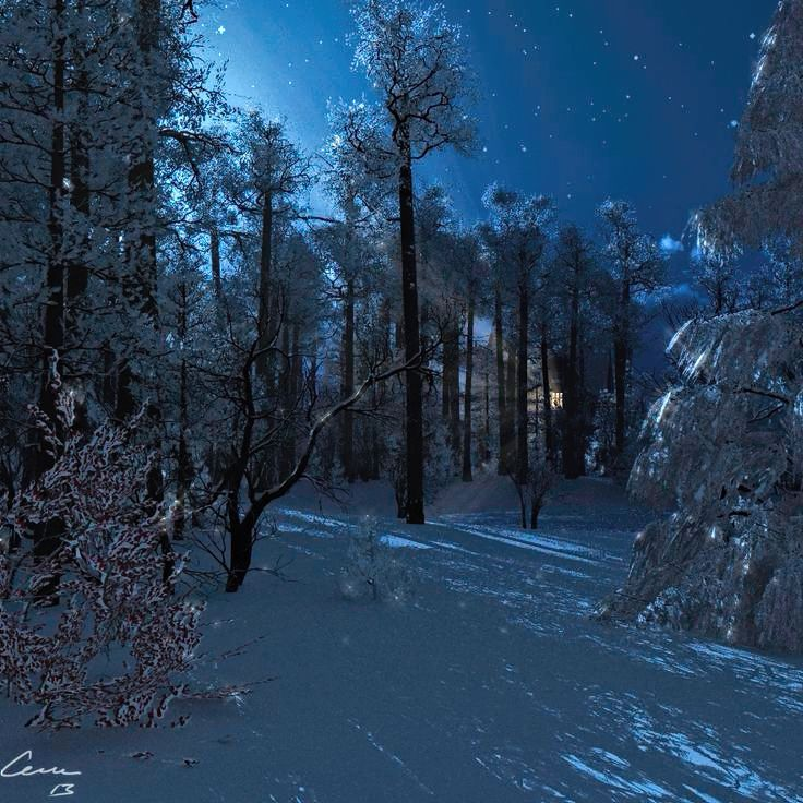 Winternight. Originally made as a Christmas card. Made in Vue Infinite.