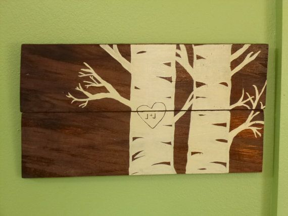 Custom Birch Tree Pallet Art with Initials, Wooden Wall Decor ...