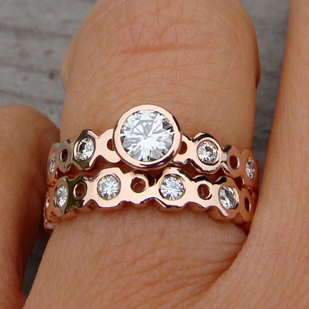 Ethical Wedding Rings Moissanite and Recycled 14k Rose Gold