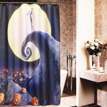 Halloween Nightmare Moon Skull Polyester Shower Curtain Bathroom - halloween bathroom sets