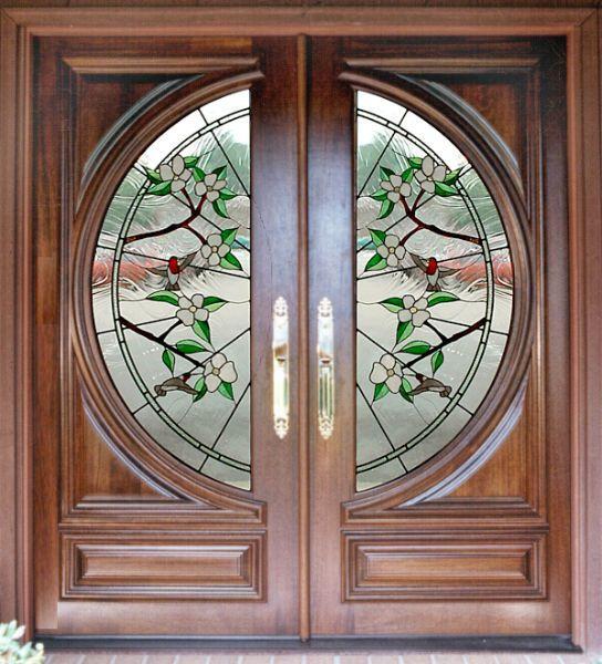 Custom Estate Hummingbird Glass Doors Wood Entry Exterior Doors