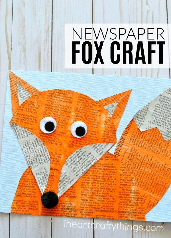 Woodland Animals Newspaper Fox Craft #craftsforkids