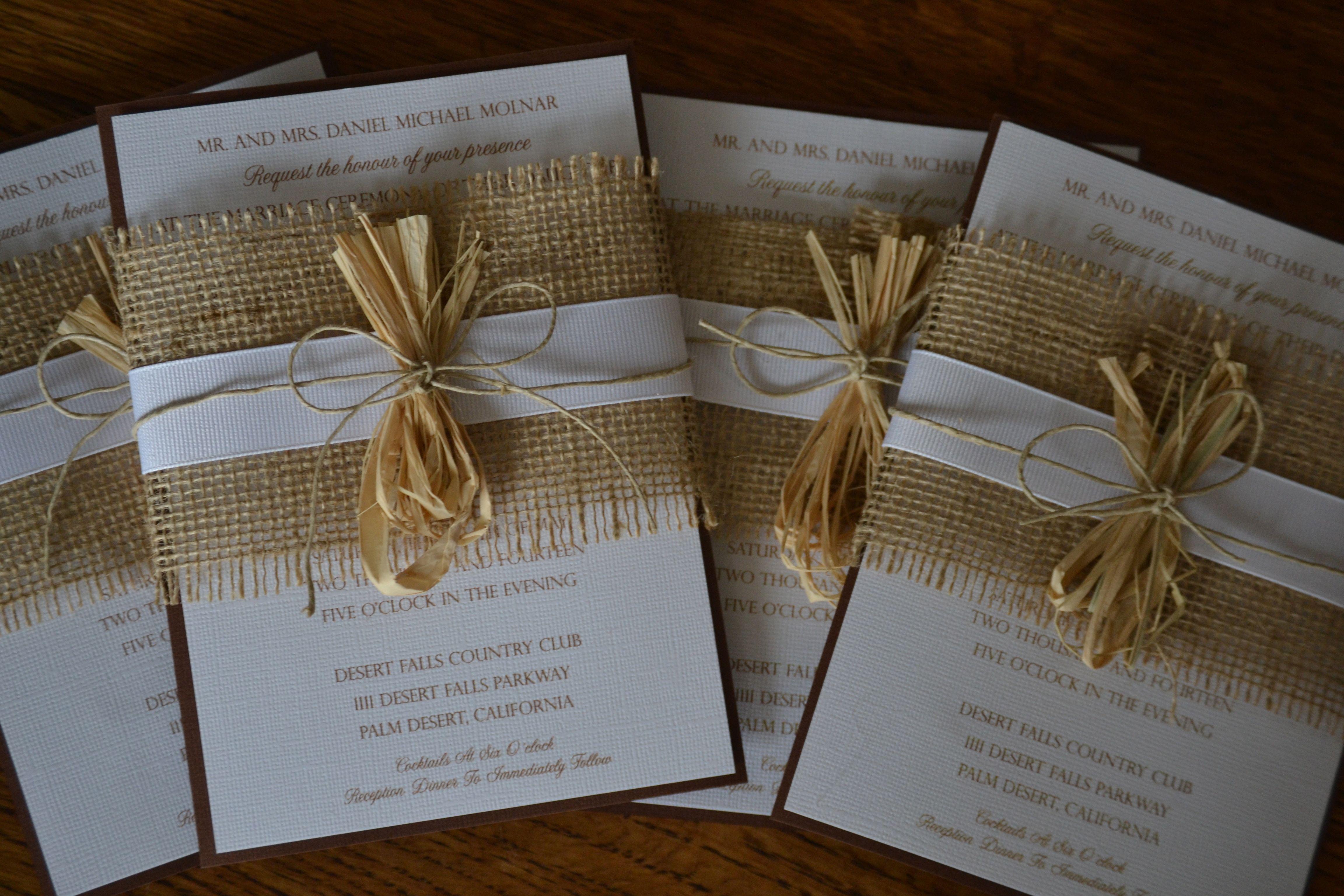 Diy Wedding Invitations Burlap Ribbon Twine Rustic Chic: Wedding Invitations With Burlap At Websimilar.org