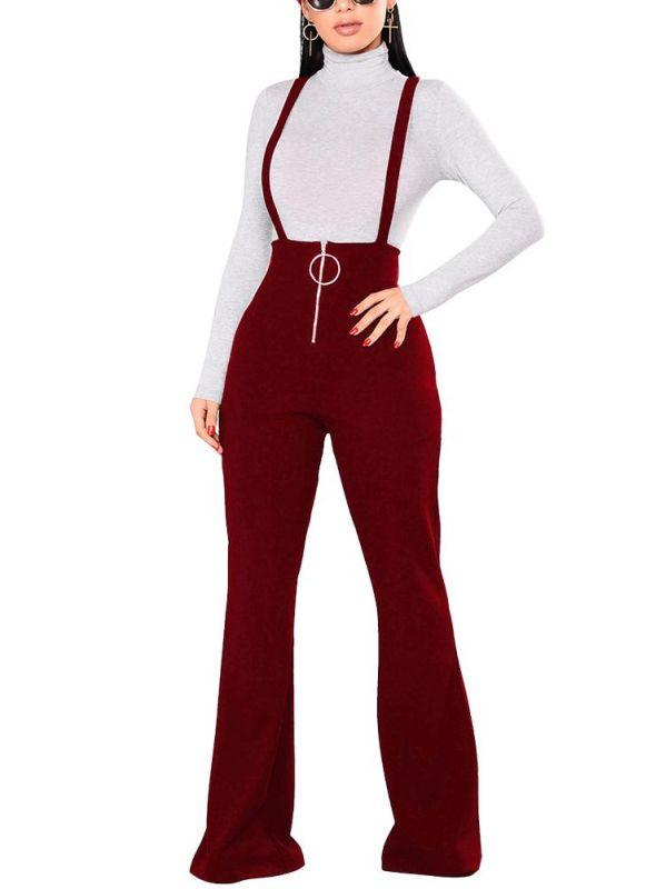 201797291de28f Chicloth Women Dungarees Overalls Bell-bottomed High Waist O-ring Zipper  Front Flared Casual Jumpsuits Pants Trousers