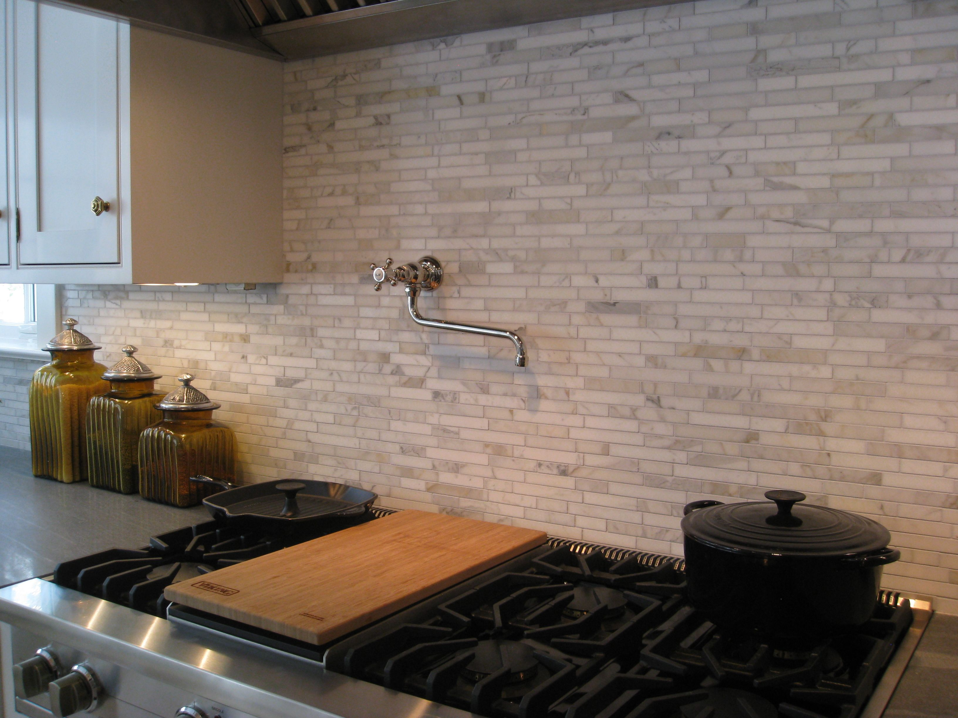 - Enjoyable White Wooden Floating Kitchen Cabinets Attach At Brick