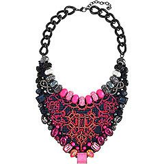 Bee Necklace | eye-catching statement necklace | vibrant pink and blue crystals and beads, colored thread, and Crystal Pearls, creating a futuristic look | Swarovski