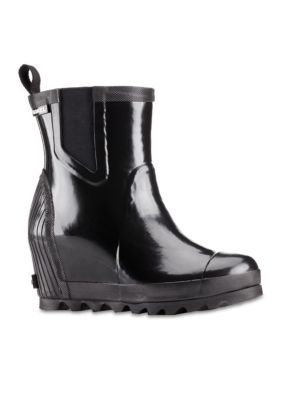 32e33c1daa2 Sorel Women s Joan Rain Wedge Chelsea Gloss Boot - Black Sea Salt - 8.5M