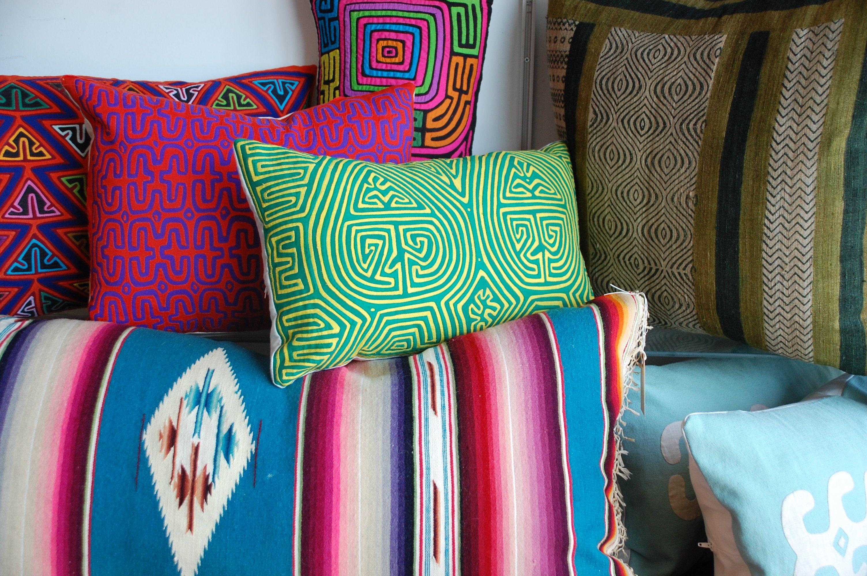 colorful vintage textile pillows