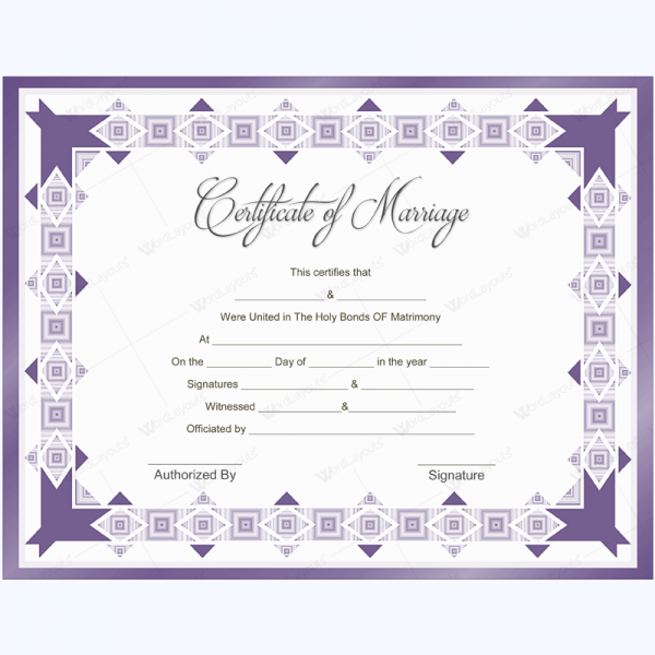 Marriage Certificate Template Marriage Certificate Template