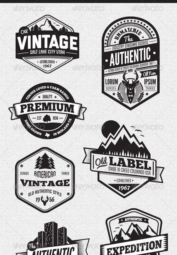 25 packs to discover to achieve an original vintage logo effect is part of Vintage logo design - 25 packs to discover to achieve an original vintage logo effect
