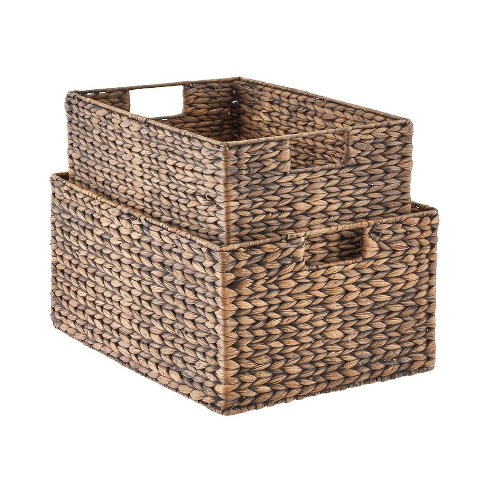 Mocha Water Hyacinth Storage Bins With Handles Storage Bins Wicker Baskets Storage Storage Baskets