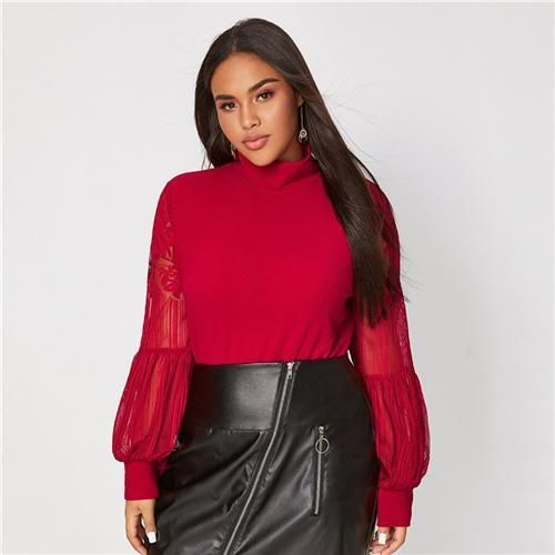 Photo of Black Mock Neck Lace Lantern Sleeve Fitted Top Plus Size Blouse, Red / XXL