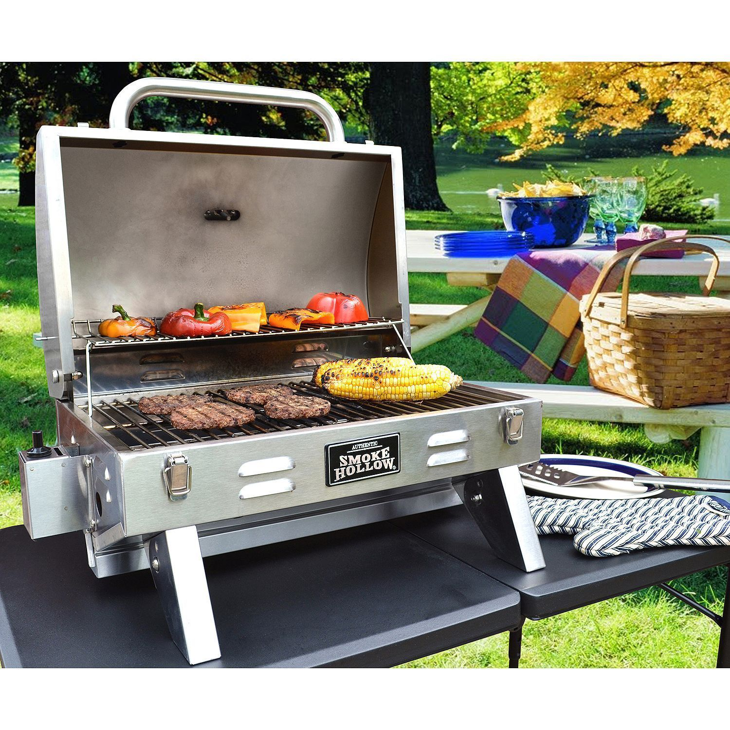 Gas Grill Propane Table Counter Top Portable Stainless Steel Drip