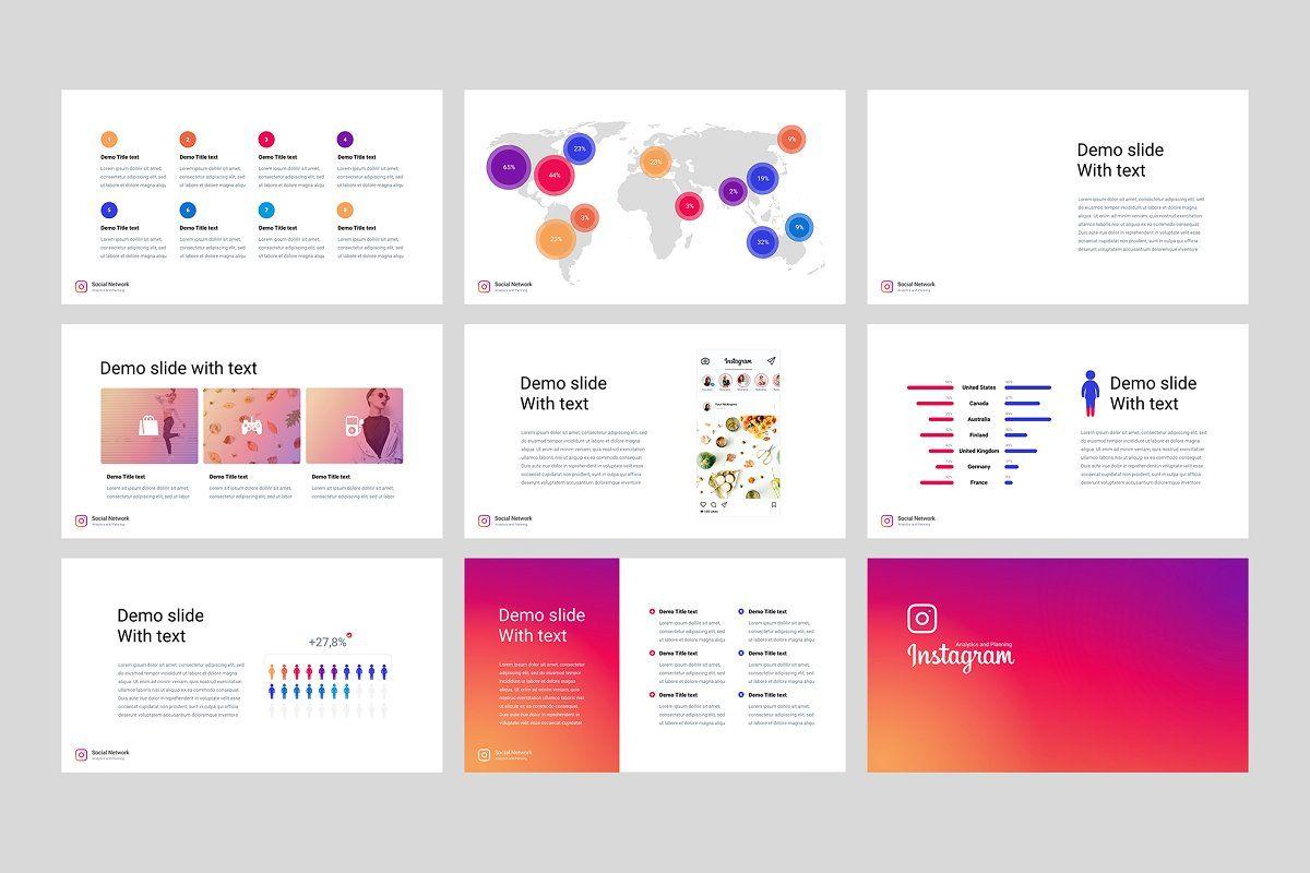 Instagram Analysis Powerpoint Keynote Template Templates Wedding Brochure