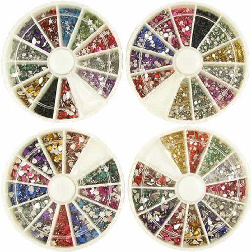 6000 7 DESIGNS 9 Sizes False Nail Art RHINESTONES wheel. #beauty, #make up, #nails