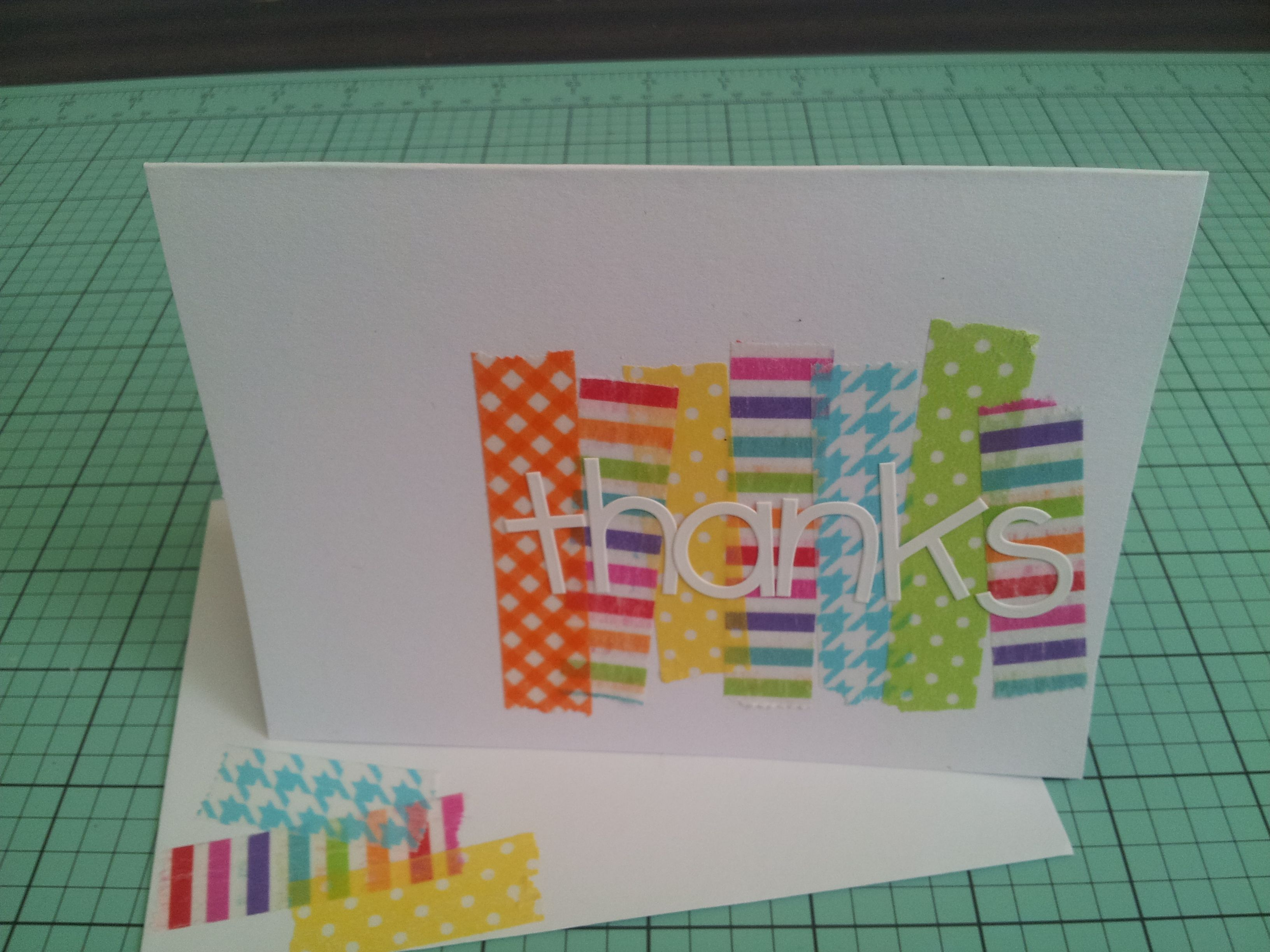 Simple thank you card made using a white card base washi tape and