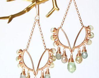 Gemstone Ear Crawlers Rose Gold Wire Wrapped by AdornobyHolly diy