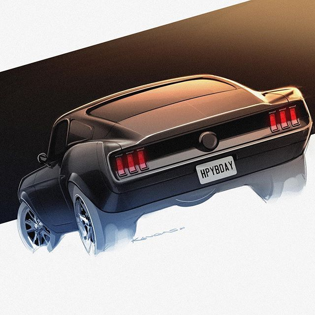 "Dan Kangas en Instagram: ""Happy 56th birthday to the Ford Mustang, and 27th to me! Always forget my birthday is on Mustang Day . . . #classiccars #designsketch…"""
