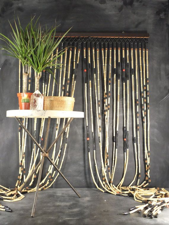 Vintage 70s Hippy Wood Bead Curtain Bamboo Beaded Curtains
