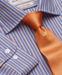 Blue And Orange Oxford Stripe 100% Easycare Cotton Single Cuff Shirt WAS £60.00   NOW £19.95 http://tidd.ly/2e25e1a2