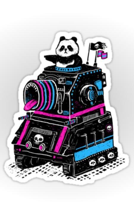 Panda's Skull Tank - by RonanLynam - sticker