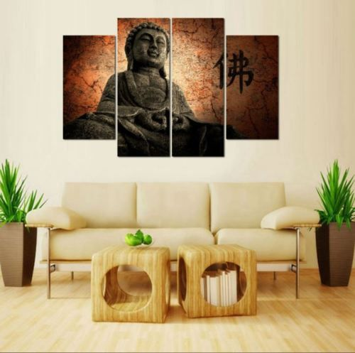 Buddha-Print-Large-Canvas-Print-Asia-Religion-Art-Home-Decor-Print-4-Pce-Lge-New www.zabardo.com