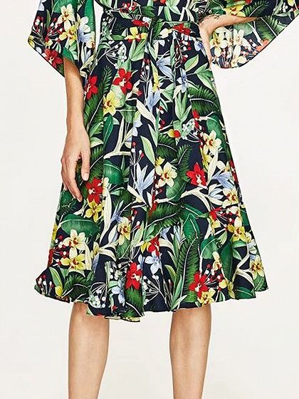 Polychrome Floral Tie Waist Ruffle Hem Skirt
