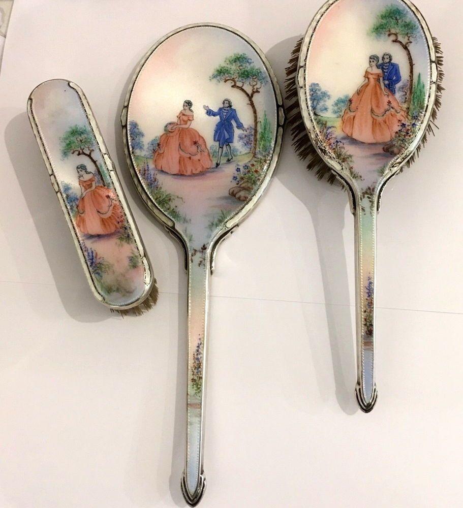 Set Spazzola Specchio.Dettagli Su Set Toletta Antico Argento E Smalti Guillioche