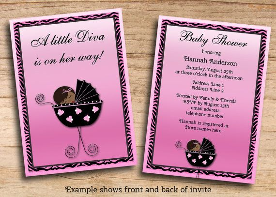 Ethnic Diva Girl Baby Shower Invitations Pink Zebra Stripes - free customizable printable baby shower invitations