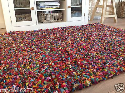 Fair Trade Thick Tufted Reversible Gy Indian Rag Rug Multi Coloured Cotton