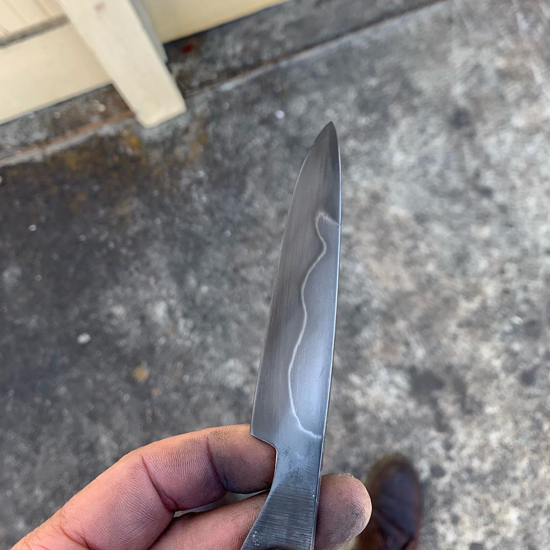 Pardon My Filthy Hand Paring Knife In Progress 1095 Steel With Hamon This One Will Be Up For Grabs Probably Tonight 1095 Steel Chef Knife Paring Knife