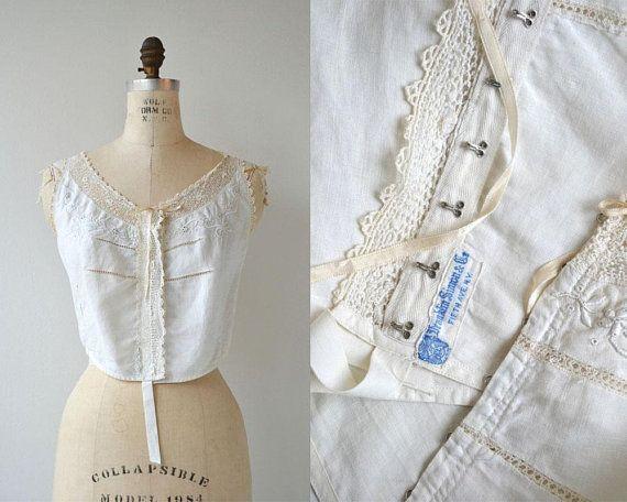 a46e4e54c471e1 Antique 1910s Edwardian corset cover camisole with delicate tatted lace  trim