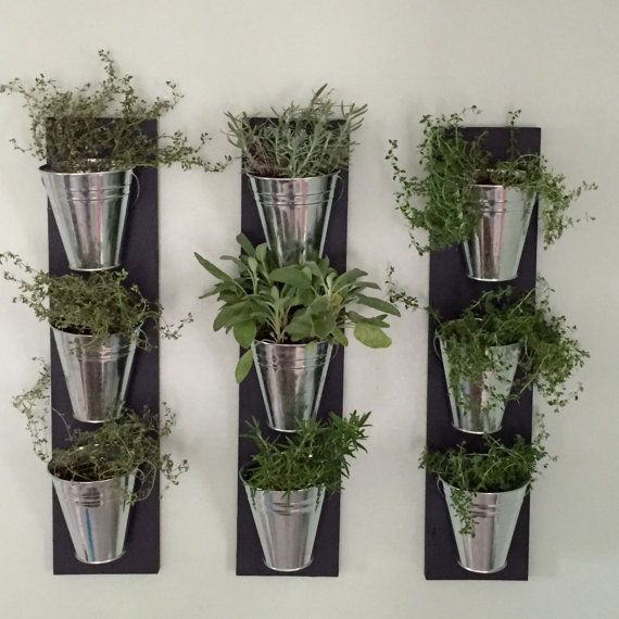 Indoor wall planter one row of 3 pots jardini re for Plante murale ikea