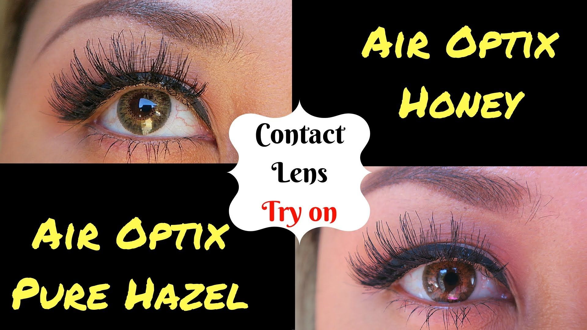Air Optix Colors Try On Honey & Pure Hazel on Dark Brown