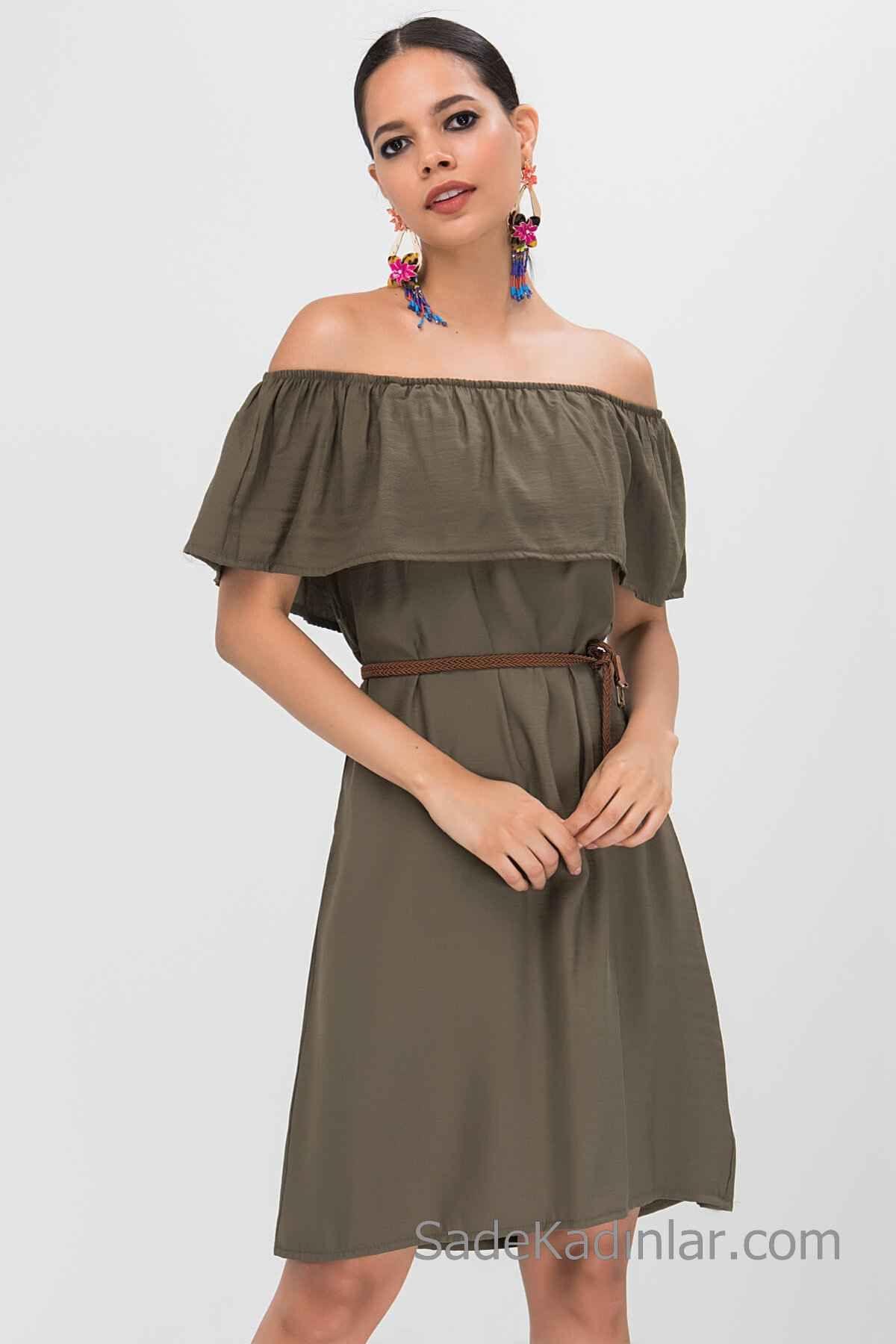 2020 Gunluk Keten Elbise Modelleri Haki Kisa Omzu Acik Dusuk Kol Firfirli Yaka Kemerli Elbise Modelleri Elbise Elbiseler