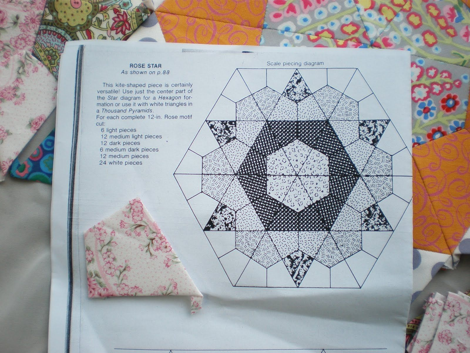 Rose Star Pattern Hexagon Quilt English Paper Piecing Quilts Paper Piecing
